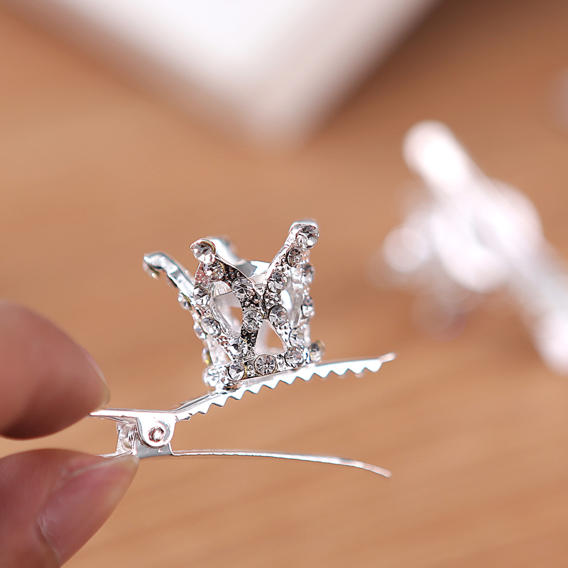 Tjejer Barn Söt Crystal Princess Party Crown Tiara Hair Pin Clips - Märkessmycken - Foto 3