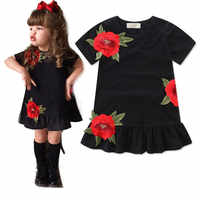 Free 2019 New Summer One piece Dress Embroidery Floral Black Casual dress Children Kids Toddler Girls