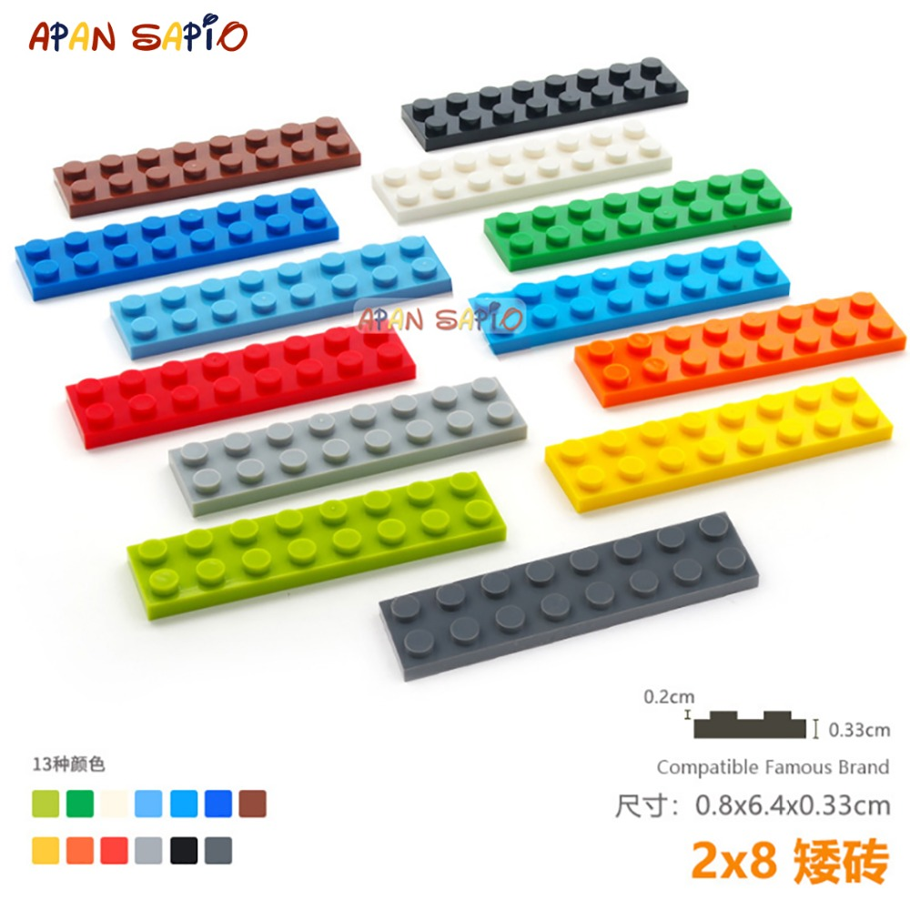 10pcs/lot DIY Blocks Building Bricks Thin 2X8 Educational Assemblage Construction Toys For Children Compatible With Lego