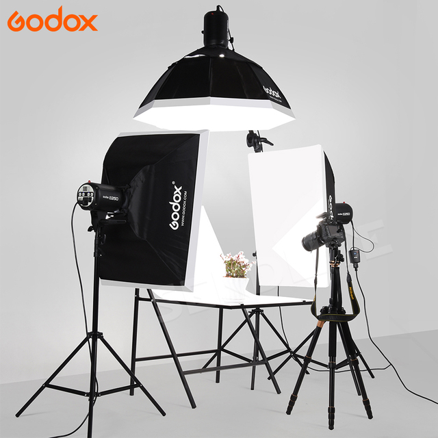 Godox 3x E250W Studio Flash Speedlite Lights E Series AC110/ 220V input Power Max 750WS with Lamp Bulb+Softbox +Light Stands