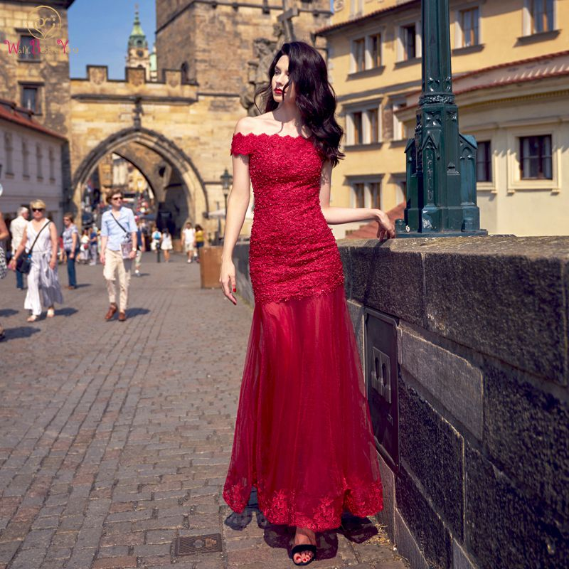 Walk Beside You Vestido De Festa Largos Elegantes De Gala   Prom     Dresses   Mermaid Long Lace Applique Ankle Length Evening Gown