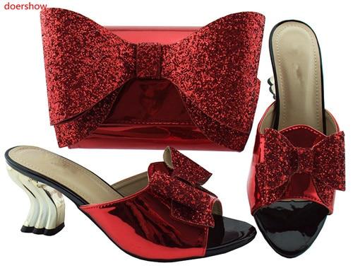 rose Parti Arrivée Royal Africain Nouvelle rouge Sacs Et Dans Rouge Chaussure bleu or Assorties 35 Italien Doershow Noir Femmes Hbl1 Sac multi argent Ensemble Chaussures O1wFq5