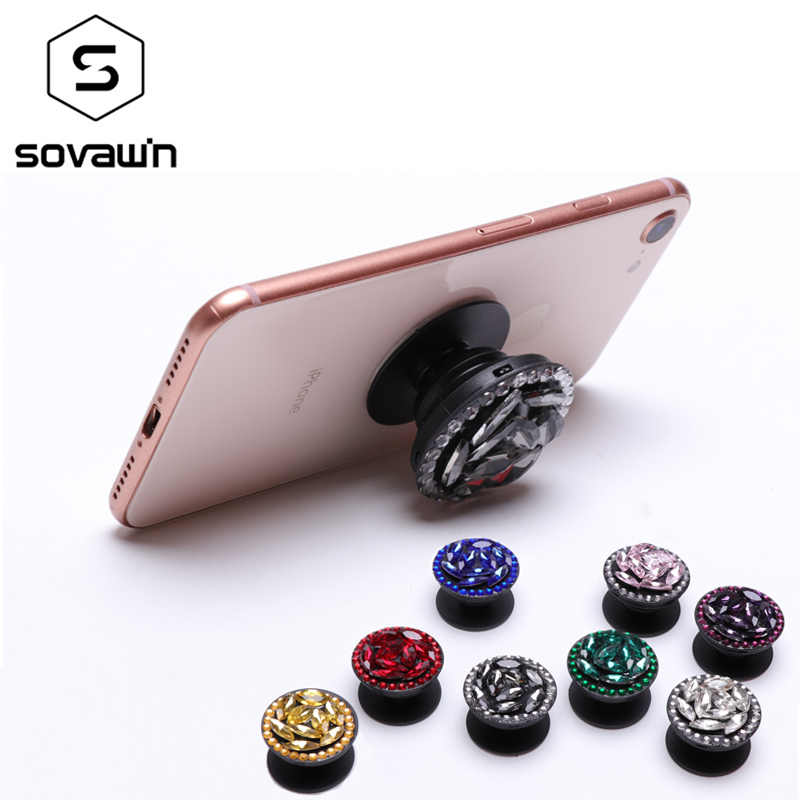 SOVAWIN Mobile Phone Holder Crystal Diamond Finger Ring Air Bracket Universal Phone Holder Ring Grip for iPhone for Android