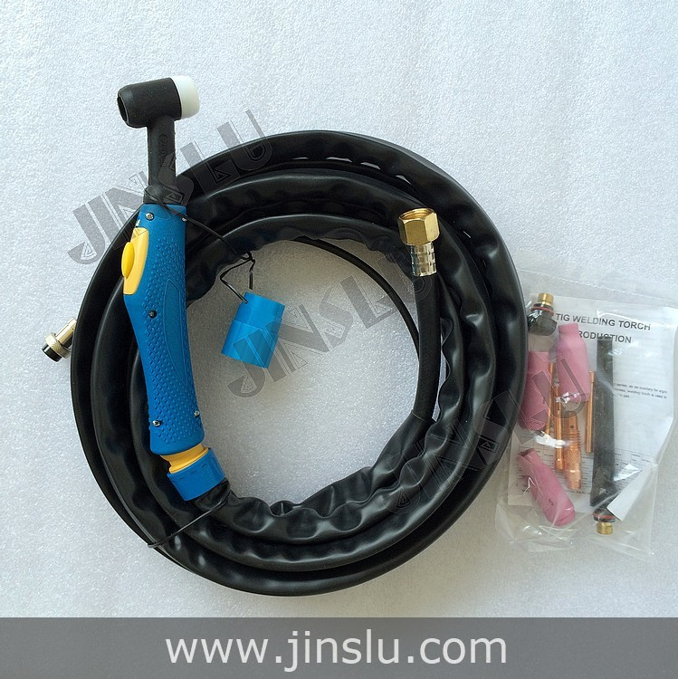 Tig Welder Welding Torch WP-26 WP26 Air Cooled Argon Arc Torch 4M Blue Handle Power & Gas Hose Whole  цены