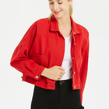 Chaquetas Mujer 2019 Jacket Women Spring/Autumn Cotton Streetwear Turn-down Collar Single Breasted Coat with Pocket