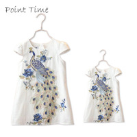 2016 New Stylish Peacock Embroidery Dress Short Sleeve Family Clothing Mother Daughter Dress Girls Party Clothes