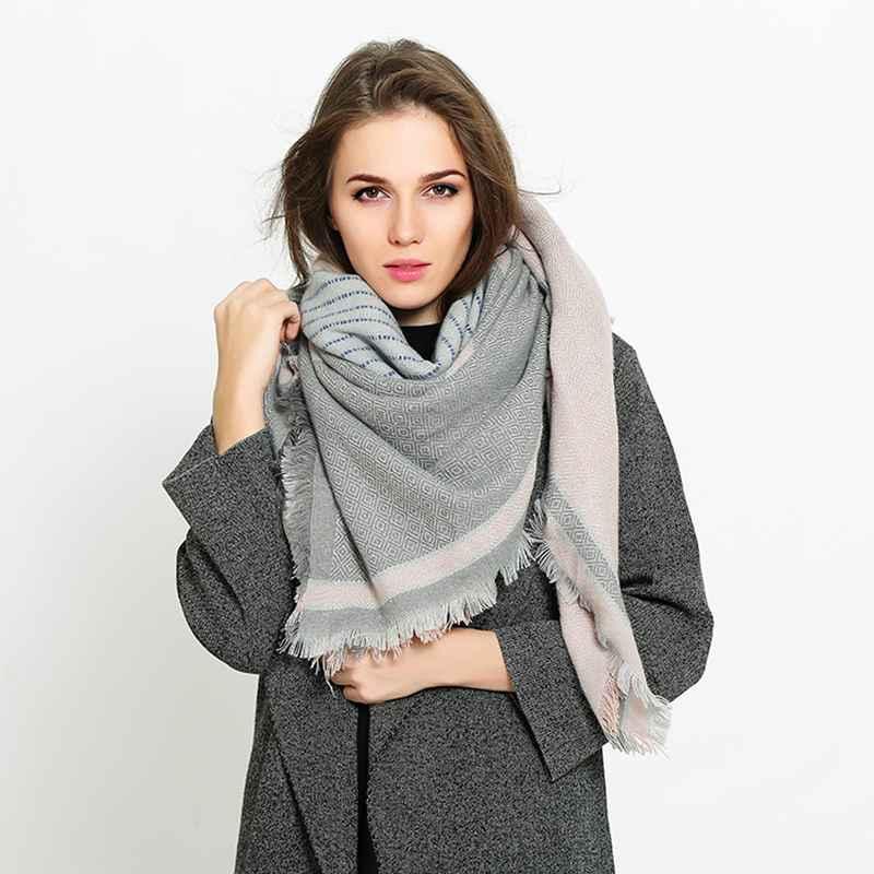 Winter Cashmere Scarf Women font b Tartan b font Foulard Luxury Brand Thick Scarves Street Fashion