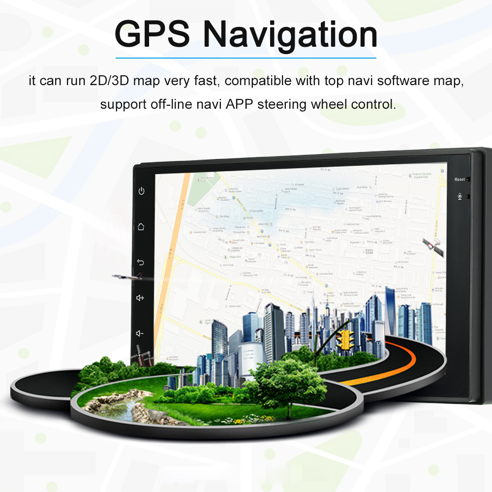 Car Multimedia Player Universal Android 7.1 System GPS Navigation Radio System 7 Inch  BT In-dash Navigation