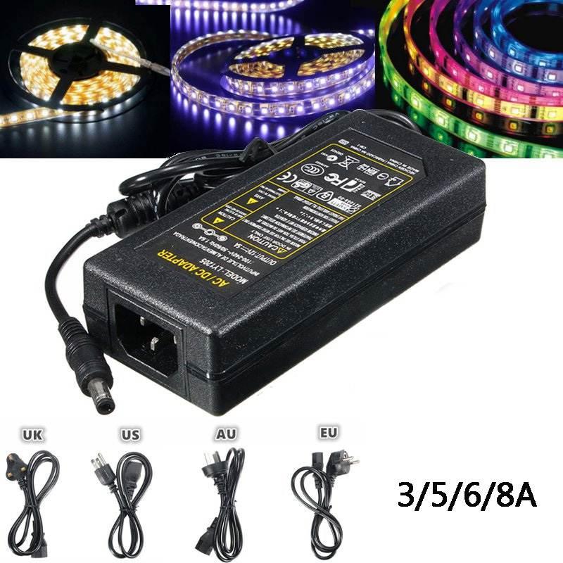 3/5/6/8A AC100-240V À DC12V Alimentation Transformateur D'éclairage 12 V Chargeur Adaptateur Pour LED Light Strip US/EU/UK/AU Plug