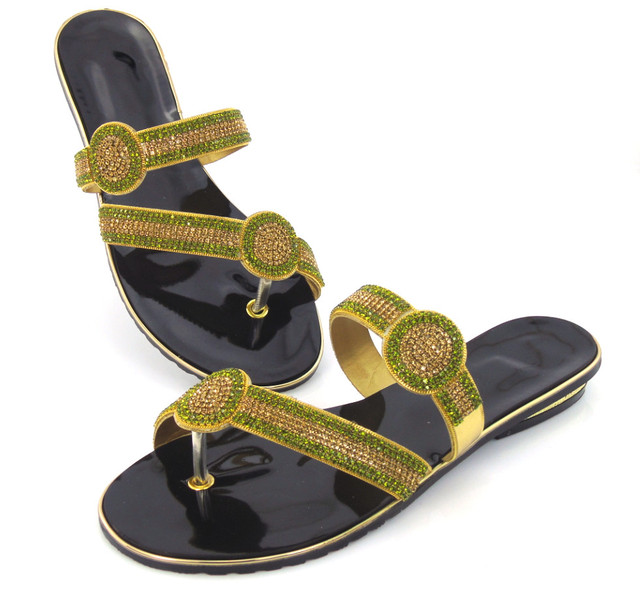 doershow Women Flat Heel Flip-Flop Sandals Casual Ladies Rhinestones  Sandals Summer Style Shoes African Style!!!DD1-102 acc33f4aa0ad