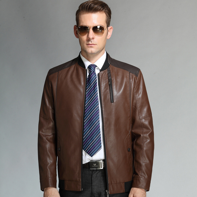 2f501cca717 2015 Spring Autumn New Business Casual Men s Leather Jackets And Coats  Genuine Leather Jacket Men Skull Motorcycle Jackets
