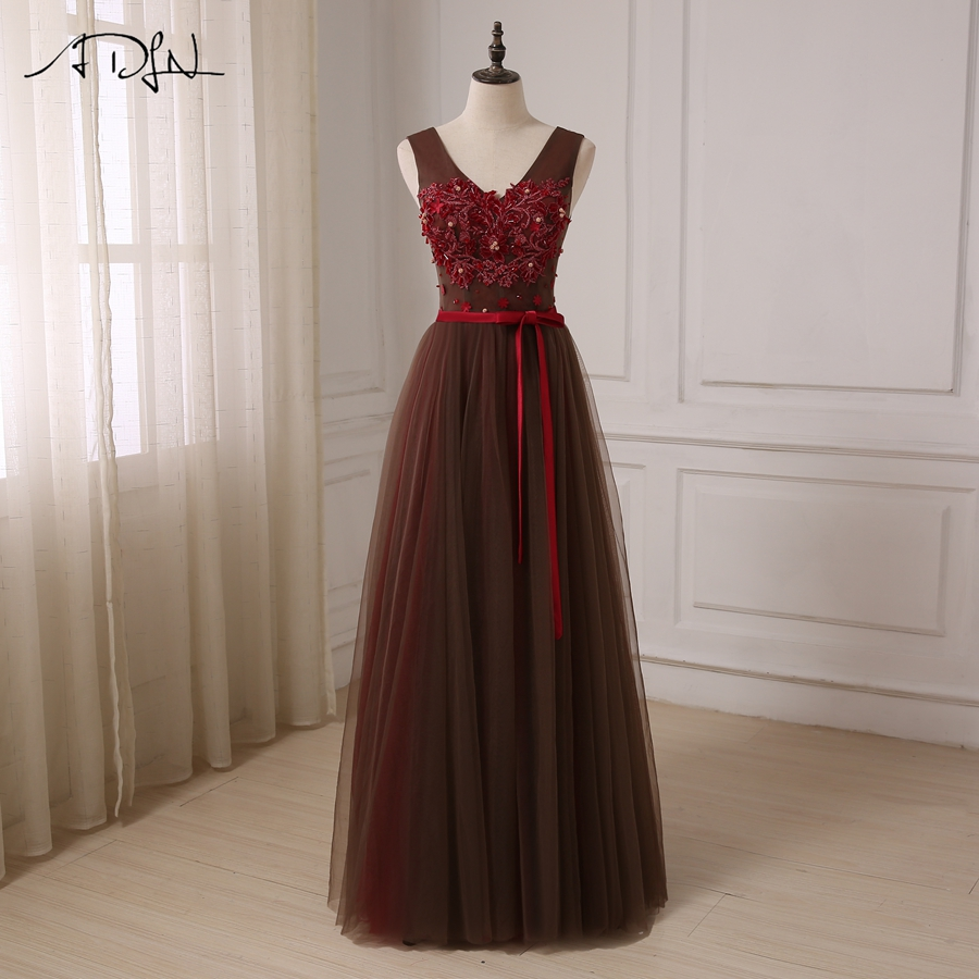 ADLN New Arrival   Prom     Dresses   V-neck Sleeveless Beaded Applique Tulle A-line Evening Party Gowns Floor Length Robes De Soiree
