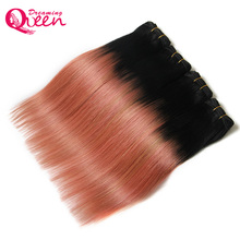 Dreaming Queen Hair Ombre Brazilian Straight  Hair Weave Extensions Rose Gold Color 100% Ombre Human Hair Extension 1 Piece