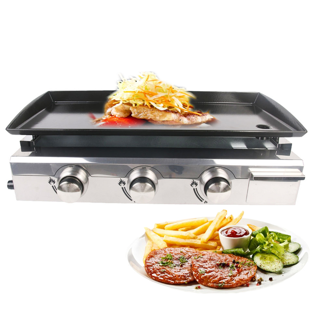 GZZT lPG Gas BBQ Grill 3 Burners Griddle Plancha Outdoor Barbecue Tools Stainless Steel Steak Beaf Cooker Machine