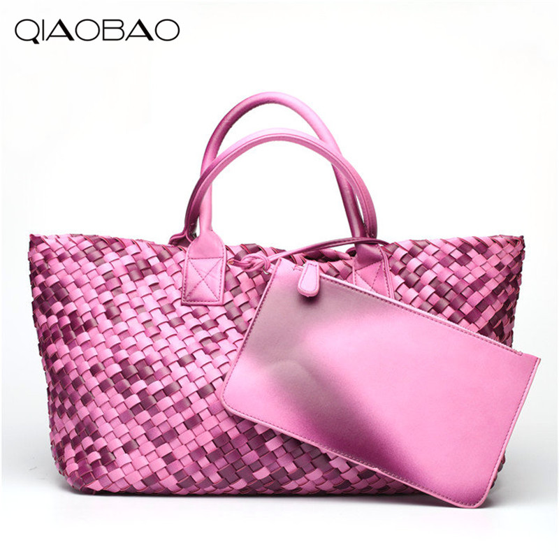 QIAOBAO Wallet Gift Bag Brand Two colors knitting Quality Leather Women's Handbag Vintage Large Capacity Handmade Weaving Totes цена