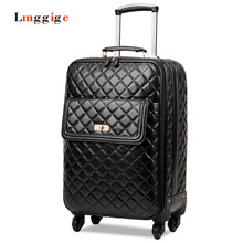 High quality PU leather Luggage,Women Carry-Ons,Universal wheels Suitcase bag,Black Grid pattern Carrier,Trolley case,drag box