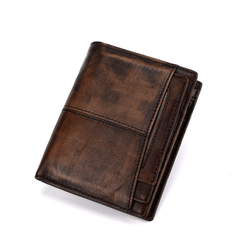 2018 New Genuine Leather Men Wallets Vintage Purse Luxury Brand Bifold PORTFOLIO Rfid Fashion Magic Vallet Male