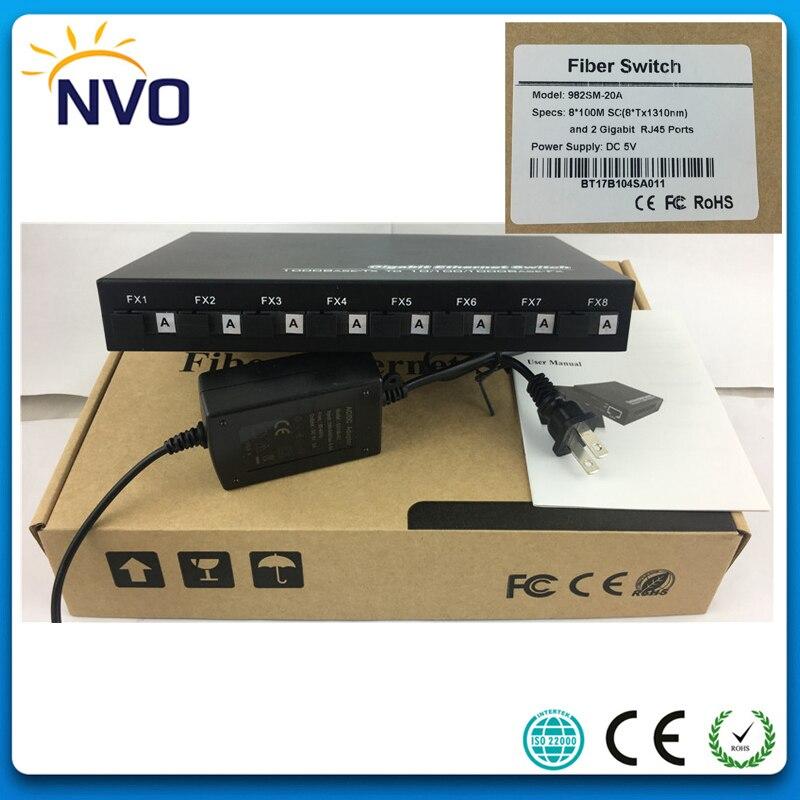 5pcs/Lot,10/100M,SM,SX,20KM,8A,Single Mode,Simplex,SC Port+2 port 10/100/1000 RJ45,Unmanaged Ethernet Optical Fiber Switch5pcs/Lot,10/100M,SM,SX,20KM,8A,Single Mode,Simplex,SC Port+2 port 10/100/1000 RJ45,Unmanaged Ethernet Optical Fiber Switch