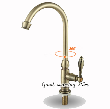 Single Cold Water Kitchen Faucet Golden Color Antique Style Brass Body