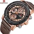 Часы NAVIFORCE мужские  модные  с кожаным ремешком  кварцевые  аналоговые  водонепроницаемые  спортивные  9139
