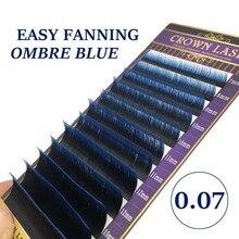 CrownLASH 0.07 Dual Ombre Blue Easy Fanning Volume Lash Double Layers 2 tone Color Self Fan