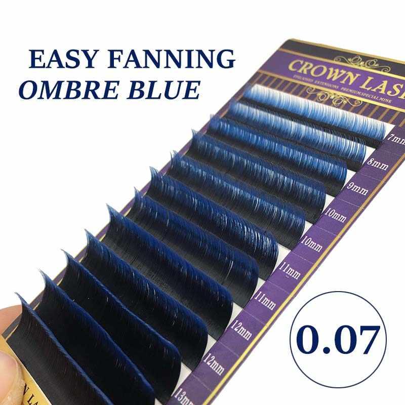 21ee935a88b CrownLASH 0.07 Dual Ombre Blue Easy Fanning Volume Lash Double Layers  2-tone Color Self