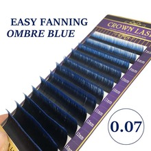 CrownLASH 0.07 כפולה Ombre כחול קל פנינג נפח לאש כפול שכבות 2 טון צבע עצמי מאוורר