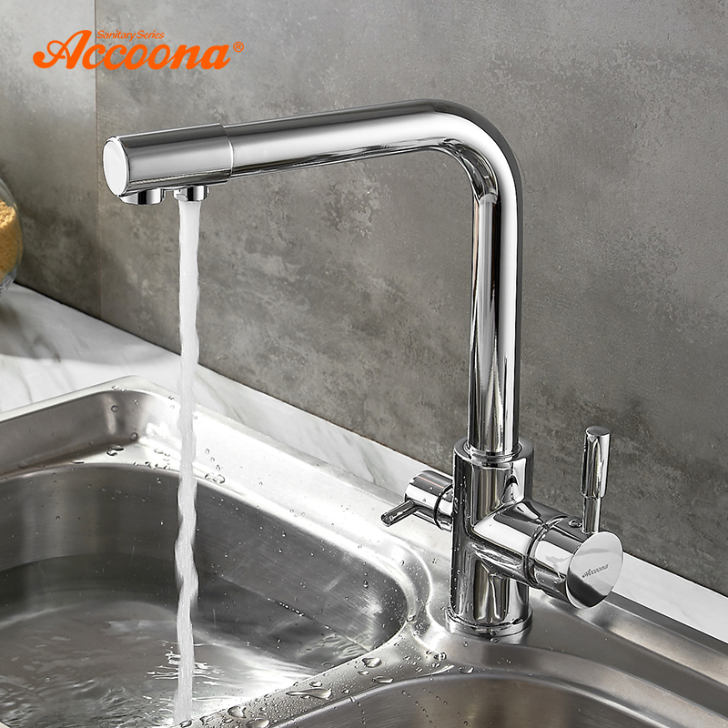 Accoona Kitchen Faucet Contemporary Dual Holder Dual Hole Clean Water Filter Dot Brass Purifier Faucet Vessel Sink Tap A5179 4