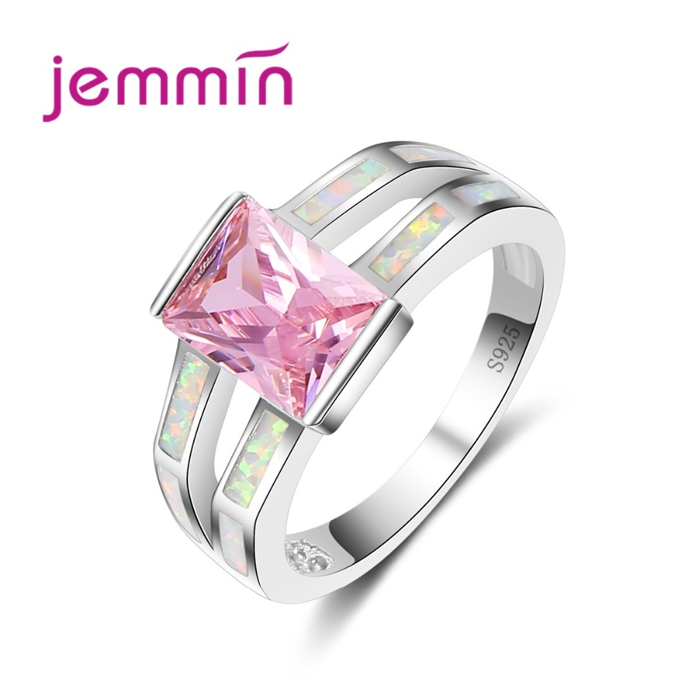 Jemmin Pink Color Princess Cut Crystal 925 Sterling Silver Rings Fine Bridal Wedding Fine Jewelry White Opal Finger Ring Lady