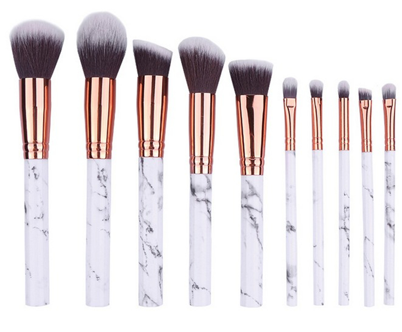 10Pcs/Set Plastic Marble Texture Makeup Brushes Powder Make up Brush Kit Cosmetic Collection Makeup Tool silicone multi texture surface make up brush cleaning tool set