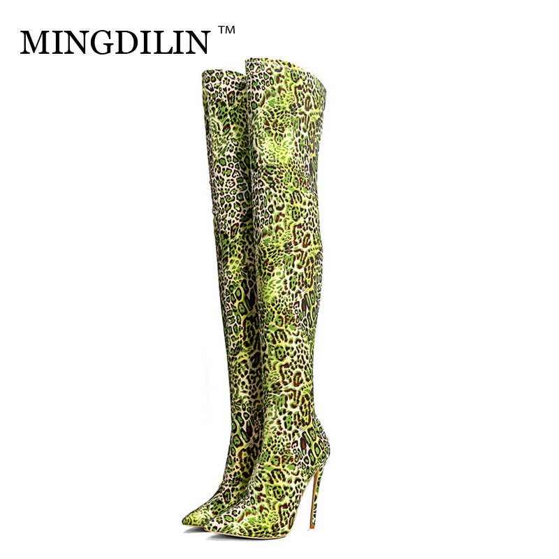 MINGDILIN Womens Sexy Knee High Boots Winter High Heels Green Thigh High Boots Leopard Print Fashion Over The Knee Boots 2018