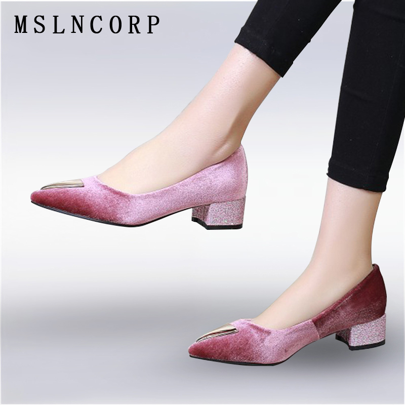plus size 34-46 New Fashion women pointed toe pumps shoes chaussures thick heels Slip On Casual femme party dress wedding shoes meotina high heels shoes women pumps party shoes fashion thick high heels pointed toe flock ladies shoes gray plus size 10 40 43
