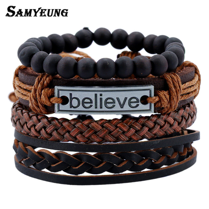 Samyeung 4 Pcs Vintage Multilayer Pu Leather Bracelets for Male Cuff Bracelet Beads Braclet Braslet Men Pulseras Hombre Sale