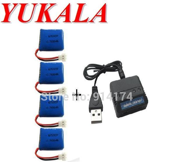 YUKALA X4 X11 X13 RC quadcopter 3.7V 200mah Li-polymer batteri * 4stk + laddare väska gratis frakt