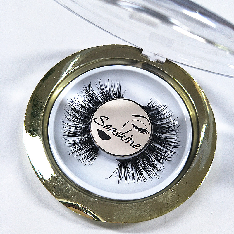 Seashine 20 pairs round gold box 3D mink eyelashes extensions false eyelash natural soft 100% handmade mink lashes free shipping 21pcs set stylish density lengthening soft handmade fabulously false eyelashes drop shipping wholesale