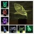 Luminarias Luces del Tiburón de la Lámpara Luz de La Noche 3D 3D Dinosaurio Niños Nightlight Ilusión Visual Led Night Lights Lámpara de estado de Ánimo