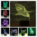 Luminarias Night Light 3D Lamp Shark Dinosaur 3D Lights Children'S Nightlight Visual Led Night Lights Illusion Mood Lamp