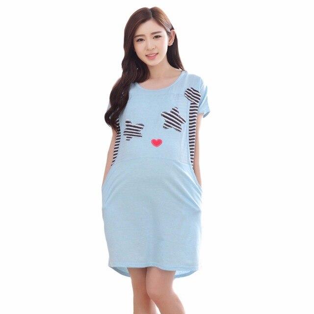 cea51d0e5 Manga corta vestido de maternidad camisón pijama de enfermería para las  mujeres embarazadas pijamas lactancia Camisones