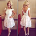 White Lace Homecoming Party Dresses Beading Cap Sleeve Short Mini Lace Graduation Dresses Ball Gowns Backless Girl Party Gown
