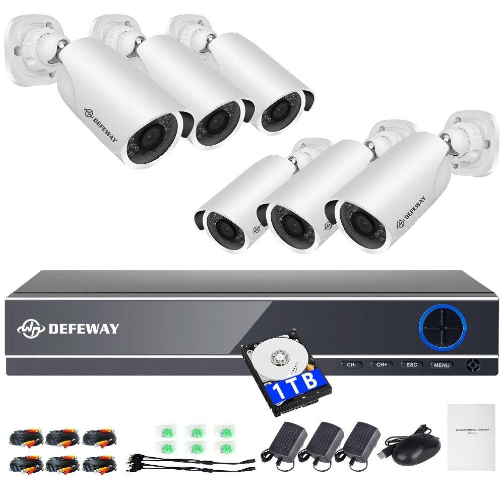 DEFEWAY HD 1080P P2P 8 Channel Video Surveillance KIT 6PCS Outdoor IR Night Vision 2 0