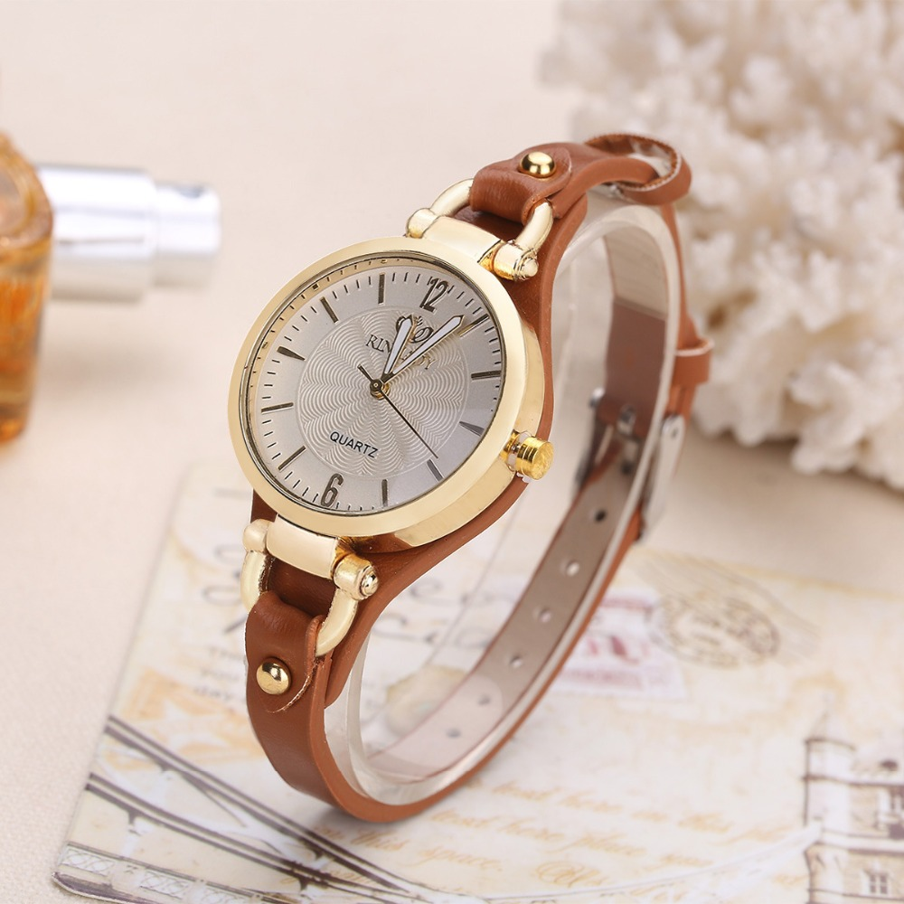 Thin Leather Casual Luxury Woman Watch Gold Dial Ladies Quartz Watch