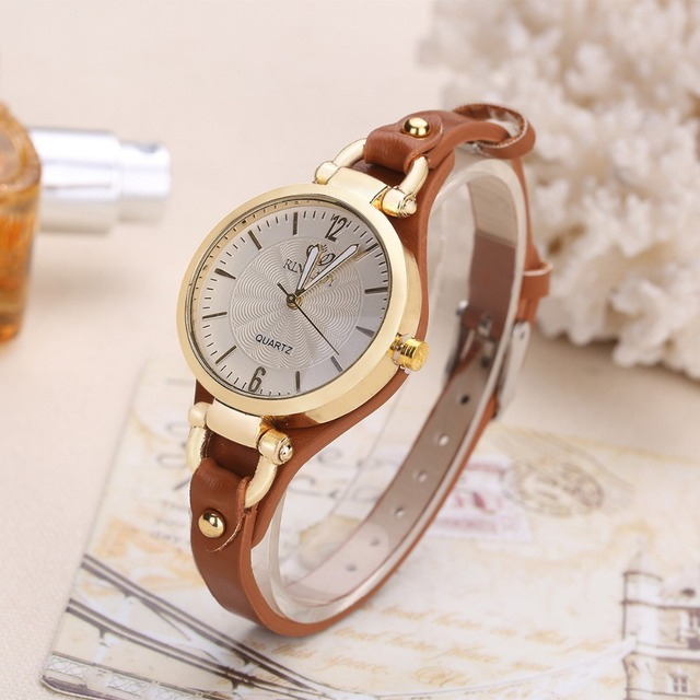 2018 New Arrival Thin Leather Casual Luxury Woman Watch Gold Dial Ladies Quartz