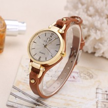 2019 New Arrival Thin Leather Casual Luxury Woman Watch Gold Dial Ladies Quartz