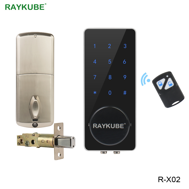RAYKUBE Password Lock Touch Keypad Electronic Door Lock With Remote Control Unlocking For Home Office Access Lock R X02