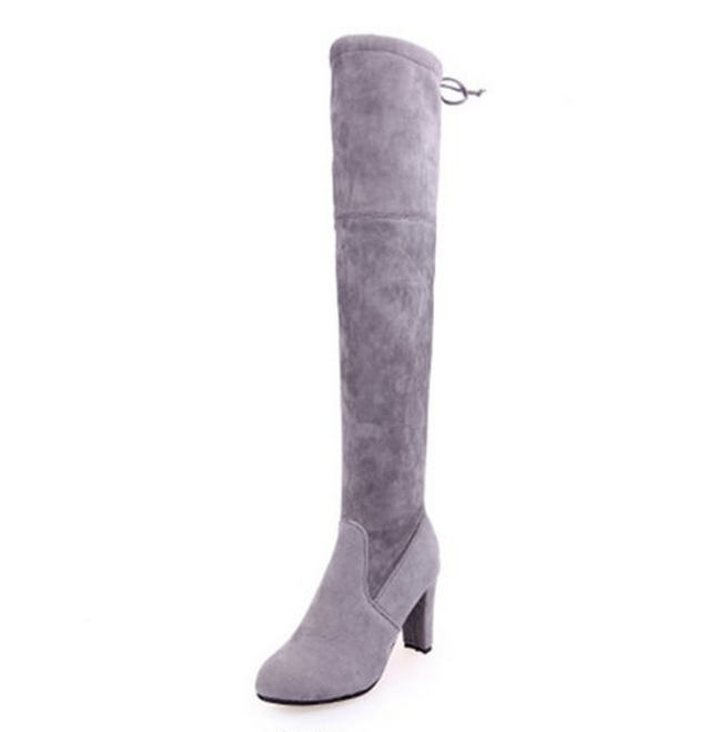 HUANQIU Çizmeler Kadın Kış Çizmeler Kadın Diz Çizmeler üzerinde Streç Seksi moda ayakkabılar 2018 yüksek topuk çizmeler Büyük size35-43 ZLL538