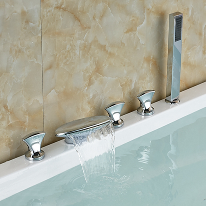 Wholesale And Retail Polished Chrome Brass Waterfall Spout Bathroom Tub Faucet W/ Hand Shower Sprayer Mixer Tap