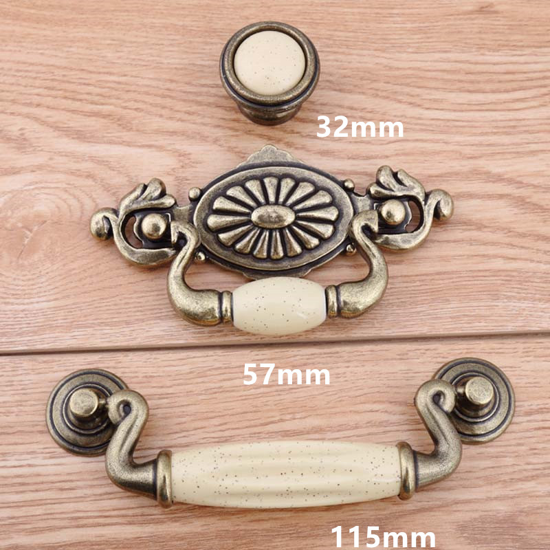 115mm 57mm vintage style ceramic drop rings furniture handle cream porcelain drawer cabinet pull knob bronze dresser handle 4.5 115mm 96mm golden flower ceramic dresser door handle bronze drawer cabinet knob pull vintage furniture handles 4 5 rings pull