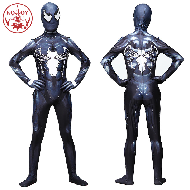 2019 New Venom Symbiote Spider Man Adult Men Costume Movie Cosplay Marvel Black Zentai Jumpsuit Halloween Costumes For Men