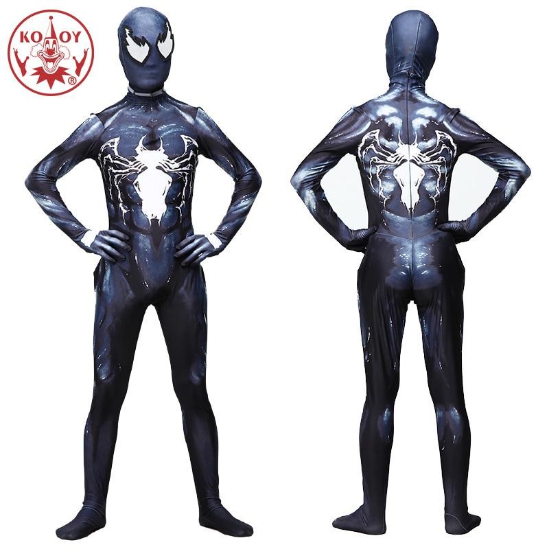 2019 Di Trasporto Del Nuovo Venom Simbionte Spider Man Uomini Adulti Costume Movie Cosplay Marvel Nero Zentai Tuta Costumi Di Halloween Per Gli Uomini