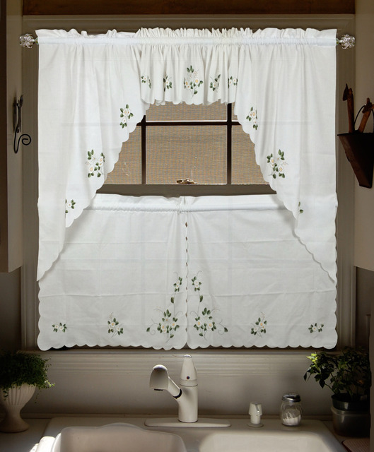 Upscale Lu Embroidered Valance Curtains Swag And Tier Set Window Curtain  For Kitchen Door Bedroom